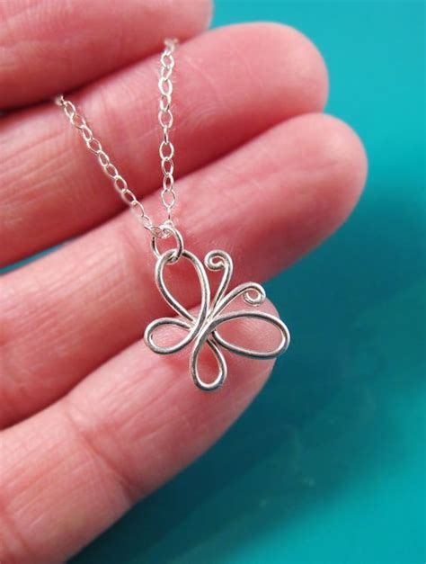 Wire Butterfly Necklace Sterling Silver-14K Rose Gold-Gold