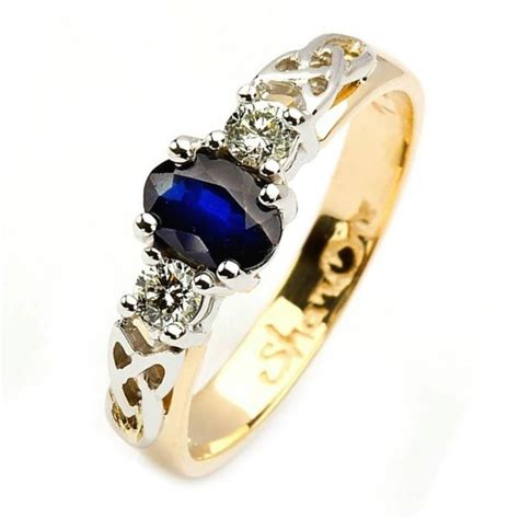 Oval Sapphire and Diamond Trinity Knot Engagement Ring