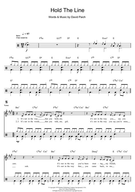 Hold The Line Sheet Music | Toto | Drums