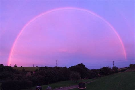 Spectacular 'pink rainbow' spotted over west of England