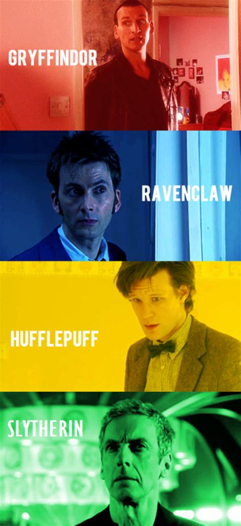The Doctors if they were grouped into Hogwarts Houses
