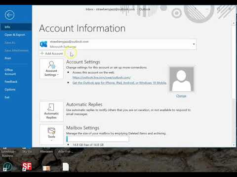 Update email account settings - Outlook