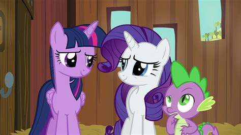 Image - Twilight and Rarity smiling; Spike in thought