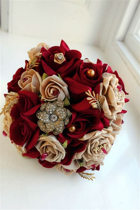 Burgundy and Gold Bouquet - I'd want real red roses