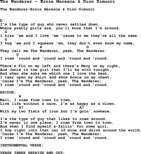 Song The Wanderer by Ernie Maresca & Dion Dimucci, song