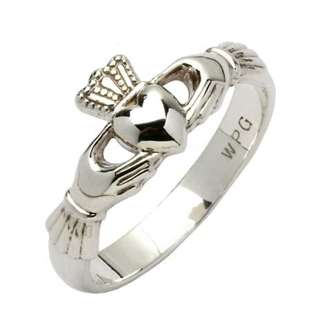 Maids Heavy White Gold Claddagh Ring - Claddagh Ringe