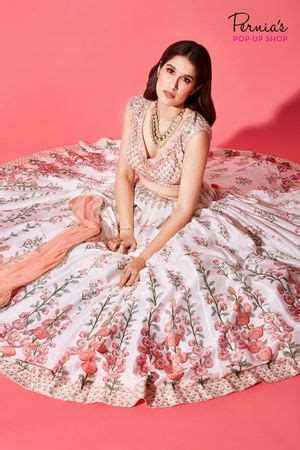floral print wtaercolor effect lehenga with full sleeves